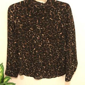 Guess sheer button-down long-sleeve print blouse